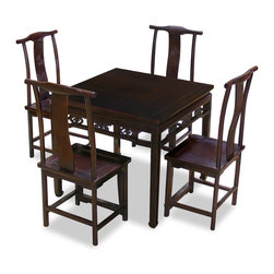 China Furniture and Arts - Elmwood Ba-Xian Table with Four Ming Chairs - Ba Xian dinning set is perfect to place in the breakfast area. Beautifully hand-carved decorative design on the edge of the table. Hand made of Elmwood for long lasting durability. Four matching Ming chairs are included. Hand applied rich dark espresso finish.