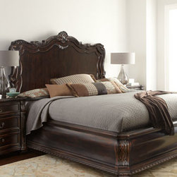Horchow - Granada King Bed - Beautifully ornate, this shapely bedroom furniture features acanthus-leaf decoration, egg-and-dart molding, scrolled feet, and elaborate hardware. With multiple options for chests and dressers, it's easy to get just the right mix for the perfect Old Wor...