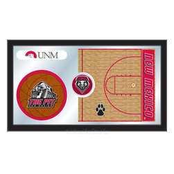 "Holland Bar Stool - Holland Bar Stool New Mexico Basketball Mirror - New Mexico Basketball Mirror belongs to College Collection by Holland Bar Stool The perfect way to show your school pride, our basketball Mirror displays your school's symbols with a style that fits any setting.  With it's simple but elegant design, colors burst through the 1/8"" thick glass and are highlighted by the mirrored accents.  Framed with a black, 1 1/4 wrapped wood frame with saw tooth hangers, this 15""(H) x 26""(W) mirror is ideal for your office, garage, or any room of the house.  Whether purchasing as a gift for a recent grad, sports superfan, or for yourself, you can take satisfaction knowing you're buying a mirror that is proudly Made in the USA by Holland Bar Stool Company, Holland, MI.   Mirror (1)"