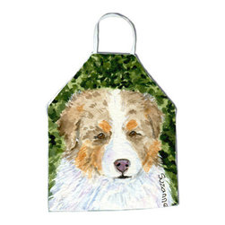 Caroline's Treasures - Australian Shepherd Apron SS8732APRON - Apron, Bib Style, 27 in H x 31 in W; 100 percent  Ultra Spun Poly, White, braided nylon tie straps, sewn cloth neckband. These bib style aprons are not just for cooking - they are also great for cleaning, gardening, art projects, and other activities, too!