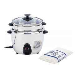 """Unknown - Precise Heat™ 1.9qt (1.8L) Stainless Steel Interior & Exterior Rice Cooker - Features 120V, 700 watts, stainless steel liner, stainless steel steamer tray, phenolic handles, see-thru glass cover, and detachable cord. Measures 11-1/4"""" x 12"""" x 11-1/4"""". UL certified. White box."""