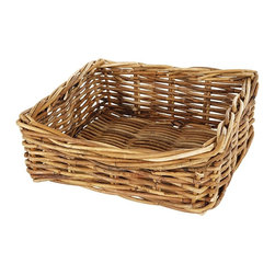 Eco Displayware - Medium Rectangular Rattan Shelf Basket in Nat - Great for closet, bath, pantry, office or toy and game storage. Earth friendly. 12.5 in. L x 11.5 in. W x 5 in. H (2.61 lbs.)These natural colored baskets add warmth and charm and keep you organized.