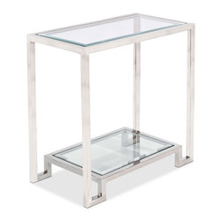 Kathy Kuo Home - Hutton Hollywood Regency Glass Nickel Side Table - Brilliantly beautiful, this clear glass side table, trimmed in polished nickel, is large enough to hold a lamp, books or photographs. It's also small enough to slip into a slim space next to a sofa or chair. Two tiers provide a pair of pretty places to surround your favorite finds with elegance.