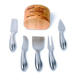 Franmara - Round Wooden Knife Block with 5 Stainless Steel Cheese Knives Set - This gorgeous Round Wooden Knife Block with 5 Stainless Steel Cheese Knives Set has the finest details and highest quality you will find anywhere! Round Wooden Knife Block with 5 Stainless Steel Cheese Knives Set is truly remarkable.