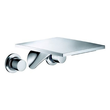 """Hansgrohe - Axor Massaud Bathroom Faucet Wall Mount Faucet w/ Knob Handles - Less Valve - Features:All brass faucet body and handle constructionFully covered under Hansgrohe's limited lifetime warrantyHansgrohe faucets are designed and engineered in GermanySuperior finishing process - finishes will resist corrosion and tarnishing through everyday useDouble knob handle operation � handles rest on 1/4 turn valvesLow lead compliant- meeting federal and state regulations for lead contentDesigned for use with standard U.S. plumbing connectionsAll hardware needed for mounting is included with faucetSpecifications:Overall Height: 2-1/4"""" (measured from counter top to the highest part of the faucet)Spout Height: 2-1/4"""" (measured from counter top to the spout outlet)Spout Reach: 10-1/4"""" (measured from the center of the faucet base to the center of spout outlet)Mounting Type: Single holeNumber of Holes Required for Installation: 3Faucet Centers (Distance Between Handle Installation Holes): 8""""Flow Rate: 2.2 GPM (gallons-per-minute)Metal knob handles included with faucetVariations: 18115: This model18112: Wall mount version of this model with drain assembly18020: Vessel version of this model18013: Widespread version of this model18010: Single hole version of this modelAbout Hansgrohe: Founded in Germany�s Black Forest back in 1901, Hansgrohe is committed to building a strong sense of tradition. Featuring unsurpassed quality, design and performance, Hansgrohe�s products offer a lifetime of satisfaction. Through many breakthroughs in comfort and technology, they bring the perfect solution you need to make the most of your water experience. With a sharp eye for innovation, Hansgrohe is consistently designing products with exceptional durability, built to not only be highly functional, but also a source of luxury and pleasure. With all of the showers and faucets they offer, new useful functions and details are at the core, making daily use as easy and comfortable as possible so that"""