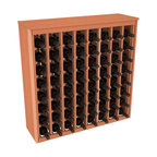Wine Racks America - 64 Bottle Deluxe Wine Rack in Premium Redwood, (Unstained) - Styled to appear as wine rack furniture, this wooden wine rack will match existing decor while storing 64 bottles of wine. Designed to look like a freestanding wine cabinet, the solid top and sides promote the cool and dark storage area necessary for aging wine properly. Your satisfaction and our racks are guaranteed.