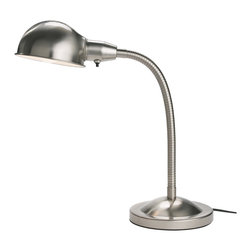 Format Work Lamp, Nickel Plated - This is just a basic and very useful gooseneck lamp with a metallic look.