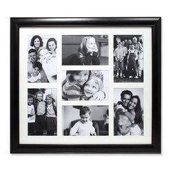 """Lawrence Frames - Black Collage Frame - Seven Opening 4x6 Gallery Frame - High quality seven openning collage frame.  Beautifully finished domed black compostie gallery picture frame holds seven 4"""" x 6"""" photos.  This is a gorgeous and elegant matted picture frame that will be a great decorative addition to any room.  Wall hanging only, comes with hangers for vertical or horizontal wall mounting.  High quality black velvet backing.  Picture frame comes with glass to protect your photos, and is individually boxed."""