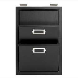 Letter Bin, Black - Clever and versatile, our modular Daily System is the ultimate home-office assistant. To create a system that's ideal for your space, {{link path='pages/daily.html'}}click here{{/link}} to view our Daily System Tool. Our modular Daily System allows you to create a customized system for supreme organization in any room. Each Daily System modular component slides onto a wall-mounted stainless steel rod, so you can easily move or add each piece. Corkboard, letter bin and office organizer take the 12-inch rod; all other pieces take the 24-inch rod. The Top Display Rod is sold separately. Simple assembly. See this item featured in {{link path='pages/popups/asi_rs_311.html' class='popup' width='720' height='800'}}Real Simple{{/link}}. Catalog / Internet Only.