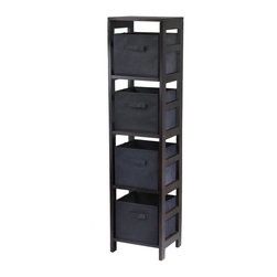Winsome Wood - Winsome Wood Capri 4-Section N Storage Shelf w/ 4 Foldable Black Fabric Baskets - 4-Section N Storage Shelf w/ 4 Foldable Black Fabric Baskets belongs to Capri Collection by Winsome Wood This storage shelf comes with 4 foldable black fabric baskets. Warm Walnut finish storage shelf is perfect for any room in your home. Use it alone as bookcase/shelf or with baskets for a complete storage function. Assembly required for shelf. Shelf (1), Basket (4)