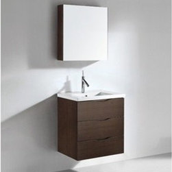 "Madeli - Madeli Bolano 24"" Bathroom Vanity with Integrated Basin - Walnut - Madeli brings together a team with 25 years of combined experience, the newest production technologies, and reliable availability of it's products. Featuring sleek sophisticated lines Madeli vanities are also created with contemporary finishes and materials. Some vanities also feature Blum soft-close hardware. Madeli also includes a Limited 1 Year Warranty on Glass Vessels, Basin, and Counter Tops. Features Wall Mounted Three Drawer Vanity Walnut finish White or Biscuit Porcelain Basin with overflow for a single-hole faucetFaucet and drain are not included Matching mirror or medicine cabinet availableLimited 1 Year Warranty on Glass Vessels, Basin, and Counter Tops How to handle your counter Spec Sheet Installation Instructions"