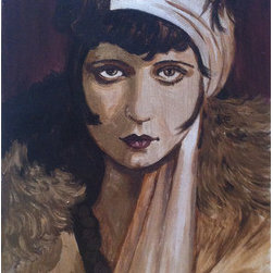 Clara Bow (Original) by William Ulrich - A painting of Clara Bow from my show Dark Glamour, that revisits the mystique of vintage Hollywood. Painted in metallics with colors named champagne, pale gold, blackened bronze and black cherry, I wanted the paintings to be dark and rich. The painting is on gallery wrapped canvas and does not need a frame.