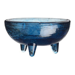 Glass Salsa Dish-Molcajete - I am obsessed with this shade of blue. Just add salsa from heirloom tomatoes and mangoes to make it pop.