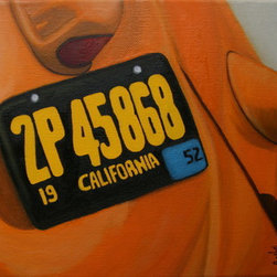Orange Bug (Original) by Gladys Jimenez - This is the second painting in my California Driving series. Almost everyone I know remembers seeing these orange beetles around town.