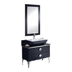 Fresca - Fresca FVN7712BL Moselle 36 Inches Modern Glass Bathroom Vanity With Mirror - Fresca FVN7712BL Moselle 36 Inches Modern Glass Bathroom Vanity With Mirror