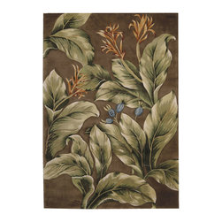 """Nourison - Nourison Tropics Floral Leaves Khaki 7'6"""" x 9'6"""" Rug by RugLots - This collection features imaginative tropical floral designs in a striking range of colors. Add drama and excitement with these beautiful hot-house interpretations. Heat up the surroundings and bring a touch of the tropics to any interior."""