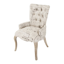 Zentique - Iris Tufted Chair - Traditional with a touch of whimsy, this armchair makes a delightful addition to your decor. Newsprint on natural linen beautifully complements the simple curved legs.