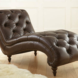 """Steve Silver - Tusconny Chaise - The Tusconny chaise lounge is waiting to bring character and comfort to your home. Constructed of 100% leather in Akron Bark with distinctive nail head trim and solid wood turned legs. The button tufting gives the piece the look of antiquity. 100% leather; Bark Leather with button tufting and antique brass nailheads; 100% Solid wood hand finished accent legs; Hardwood Frame. Dimensions: 33""""L x 72""""W x 39""""H"""
