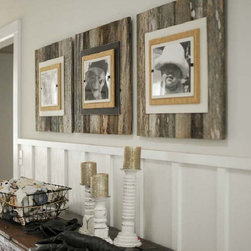 """Reclaimed Wood Frame - Large - Extra large frames (22"""" x 22"""") crafted of weathered and painted wood with a burlap wrapped interior frame to feature an 8"""" x 10"""" photo. Easy front loading, clamping system under Plexiglas makes photo updates a breeze. We show three frames side by side in collage fashion for a statement making wall hanging. Painted frame portion available in cream or brown on weathered wood."""