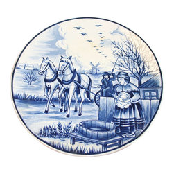 EuroLux Home - Small Consigned Vintage Blue White Delft Plate Autumn - Product Details