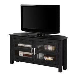 """Walker Edison - 44"""" Black Wood Corner TV Stand Console - Utilize your corner space with this 44"""" media console, its corner design makes this the perfect space saving unit. Features ample media storage and two double doors with tempered safety glass panes. Crafted from high-grade MDF and durable laminate to accommodate TVs up to 48""""."""