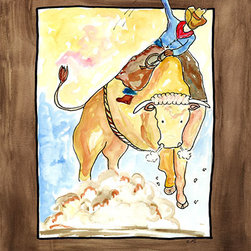 Oh How Cute Kids by Serena Bowman - Hanging On, Ready To Hang Canvas Kid's Wall Decor, 11 X 14 - This is classic theme of Ridin' and ropin' cowboys kicking up clouds of dust  - can go with any little guy's decor! I love this picture - a little more rowdy than my normal fare!