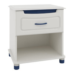 Ameriwood - Ameriwood Nightstand with Colored Panels Multicolor - 5822015PCOM - Shop for Nightstands from Hayneedle.com! Make your bedroom more colorful with the fun color options and versatile silhouette of the Ameriwood Nightstand with Colored Panels. Finished in White Stipple this unique nightstand can be accented by colored hardware in different hues. An accent panel at the top drawer of the dresser is available in pink or blue making it perfect for decorating girls' and boys' rooms or for adding some color to your own bedroom. And there's more! The handles on the drawer and the adjustable feet are both available in their own coordinating colors of pink blue or white. An ample drawer and an open compartment keep your cell phone alarm clock books and other bedtime necessities within arm's reach. Metal drawer glides ensure smooth operation for years to come.About AmeriwoodAmeriwood Industries is one of the leading manufacturers of wood and engineered wood products in the United States. For more than 30 years Ameriwood has helped furnish homes across North America with ready-to-assemble furniture including wood and metal furniture pieces for home office entertainment and bedroom.