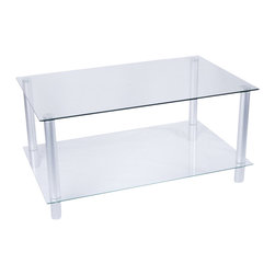 Tier One Designs - Clear Glass and Aluminum Coffee Table - 8mm tempered clear glass. Easy to assemble. 41.5 in. W x 25.5 in. L x 19.5 in. H. Assembly instructionsAdd sophistication and classic style to your home or office with this graceful and elegant aluminum and glass coffee table.  Two clear 8mm glass shelves offer ample space to display your fine printed masterpieces or your favorite objet d'art.  Floor levelers have been incorporated into the design to allow for perfect placement in your home or office. Accessories not included.