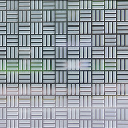 Egyptian Weave Sheer Film - 4 ft. x 7 ft. - Sheer decorative adhesive window film is a perfect solution to provide limited privacy while adding dimension to your space.  The sheer film is ideal for letting maximum light and color penetration while still lightly obscuring the view through a window.  Sheer film will not alter natural light colors.  Film is easily applied and removable without leaving residue in most circumstances.  Ideal for shower doors, windows, and any location where visibility needs to be obscured. Easily trimmed to fit most windows. Not for use on automotive windows.  Printed with eco friendly inks and designed to last years without replacement. Full privacy / frosted films also available. 48W x 84H Made In The USA Oversized For Large Windows & Patio Doors