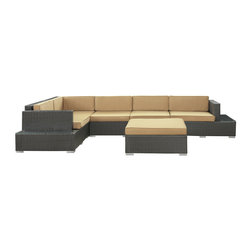 Modway Furniture - Modway Harbor 6 Piece Sectional Set in Espresso Mocha - 6 Piece Sectional Set in Espresso Mocha belongs to Harbor Collection by Modway Immerse yourself in the depth of new surroundings as you become acquainted with the art of making socially innovative gatherings. Catch the perfect angle for boundless views of reality with this easily reconfigured outdoor set. Expand horizons and open new vistas as hidden opportunities rise to the surface. Set Includes: One - Secret Harbour Outdoor Wicker Patio Coffee Table One - Secret Harbour Outdoor Wicker Patio Coffee Table Cushion One - Secret Harbour Outdoor Wicker Patio Corner Section One - Secret Harbour Outdoor Wicker Patio Left Arm Section One - Secret Harbour Outdoor Wicker Patio Right Arm Section Two - Secret Harbour Outdoor Wicker Patio Armless Sections Coffee Table (1) , Coffee Table Cushion (1), Corner Section (1), Left Arm Section (1), Right Arm Section (1), Armless Sections (2)