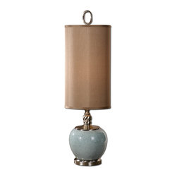 Uttermost - Lilia Light Blue Buffet Lamp - Crackled light blue ceramic with brushed aluminum details. The oval hardback drum shade is a rusty brown Linen fabric.
