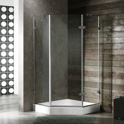 Vigo - VIGO VG6061BNCL40W 4 Neo-Angle Shower Enclosure - Both dramatic and space-saving, the VIGO frameless neo-angle shower enclosure creates a beautiful focal point for your bathroom.