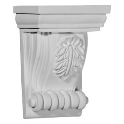 "Ekena Millwork - 4 3/4""W x 3 1/8""D x 6 3/4""H Forrest Small Leaf Corbel - 4 3/4""W x 3 1/8""D x 6 3/4""H Forrest Small Leaf Corbel. These corbels are truly unique in design and function. Primarily used in decorative applications urethane corbels can make a dramatic difference in kitchens, bathrooms, entryways, fireplace surrounds, and more. This material is also perfect for exterior applications. It will not rot or crack, and is impervious to insect manifestations. It comes to you factory primed and ready for your paint, faux finish, gel stain, marbleizing and more. With these corbels, you are only limited by your imagination."