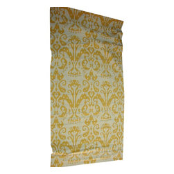 "Custom Yellow Gold Cream Ikat Window Shade - 4 - Style your windows in these cheerful and exotic Yellow Ikat Window Shades - Set 4 each: 32.2"" w x  1.75"" d x 60.5"" length In good condition"
