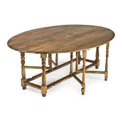 Kathy Kuo Home - Rafael Oval Gate Leg Drop Leaf Wood Dining Table - Perfect for dining rooms of every size, this oval drop leaf table expands and reduces according to your needs.  Classic details like turned legs make it an easy fit for just about every traditional design style around, and with an inviting round shape, a great choice for families and hostesses.
