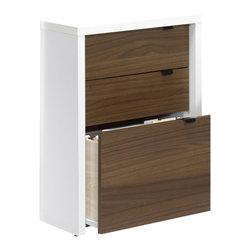 Nexera - Nexera Liber-T 3-Drawer Filing Cabinet in White and Walnut - Nexera - Filing Cabinets - 211203