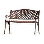 GreatDealFurniture - Antique Copper Cast Aluminum Garden Bench - Cast your eyes on this garden-ready perch. The cross-hatched design of the copper cast aluminum bench exudes an antique appeal that will rival your lush potted plants.