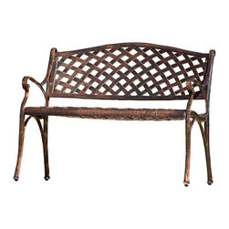 Great Deal Furniture - Antique Copper Cast Aluminum Garden Bench - Cast your eyes on this garden-ready perch. The cross-hatched design of the copper cast aluminum bench exudes an antique appeal that will rival your lush potted plants.