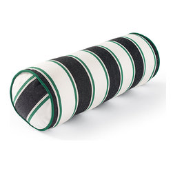 Frontgate - Melrose Stripe Black Outdoor Bolster Pillow - 100% Sunbrella® solution-dyed acrylic fabric. Finished in Emerald canvas piping. Resists fading, mold and mildew. High-density polyester fill. Spot clean with mild soap and water; air dry only. The Sunbrella Melrose Stripe Onyx Outdoor Bolster Pillow is sure to spruce up any outdoor setting with its contrasting stripes in shades of onyx and emerald. Filled with high-density polyester, the all-weather construction of this exclusive pillow will hold its color and shape through seasons of use. 100% Sunbrella solution-dyed acrylic fabric .  .  .  .  . Zipper closure . Made in the USA.