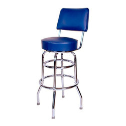 "Richardson Seating - Richardson Seating Retro 1950s 30"" Swivel Bar Stool with Blue Seat - Richardson Seating - Bar Stools - 1958BLU - Richardson Seating Floridian's Floridian collection ships within 2 business days as quick ship items. The 50's retro look bar stool collection is back with added comfort and stylish design. The Floridian collection are commercial bar stools made in the USA and equally ideal for residential use."