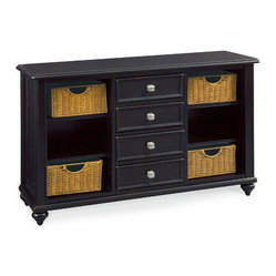Hammary Camden-Dark 4 Drawer Console Table w/ 4 Baskets in Black