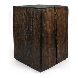 Pfeifer Studio - Solid Pine Cube Table, Dark Walnut Pine - Our Solid Pine Cube Tables are made in the USA from timber harvested in the mountains of New Mexico. The textured finish on the surface is created by hand, using an adz tool to shape a pattern on the wood. Our tables are in stock and finished-to-order.
