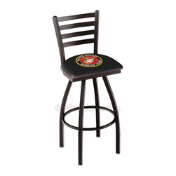 Holland Bar Stool - Holland Bar Stool L014 - Black Wrinkle U.S. Marines Swivel Bar Stool - L014 - Black Wrinkle U.S. Marines Swivel Bar Stool w/ Ladder Style Back belongs to Military Collection by Holland Bar Stool Made for the ultimate sports fan, impress your buddies with this knockout from Holland Bar Stool. This contemporary L014 U.S. Marines stool carries a defined Ladder-style-back that doesn't just add comfort, but sophistication. Holland Bar Stool uses a detailed screen print process that applies specially formulated epoxy-vinyl ink in numerous stages to produce a sharp, crisp, clear image of your desired logo. You can't find a higher quality logo stool on the market. The plating grade steel used to build the frame is commercial quality, so it will withstand the abuse of the rowdiest of friends for years to come. The structure is powder-coated black wrinkle to ensure a rich, sleek, long lasting finish. Construction of this framework is built tough, utilizing solid welds. If you're going to finish your bar or game room, do it right- with a Holland Bar Stool. Barstool (1)
