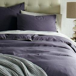 Linen Cotton Duvet Cover and Shams, Amethyst -