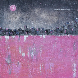 Pink Moon - Original Artwork - Beautiful Acrylic mixed media is highly textured on stretched canvas.