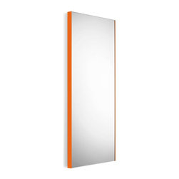 WS Bath Collections - Wall Mount Mirror with Orange frame - Modern/ contemporary design. 5 years silvering guaranteed. Warranty: 1 year. Made of glass mirror with powder coated aluminum. Made in Italy. 17.5 in. W x 39.4 in. H (30 lbs.). Spec SheetLinea; washbasins, washstands, and bathroom furniture, of various sizes and materials. Pureness of glass, polish of steel, and warmth of wood. Perfection of lines, art, and harmony. Made by Lineabeta of Italy to Highest Industry standards.