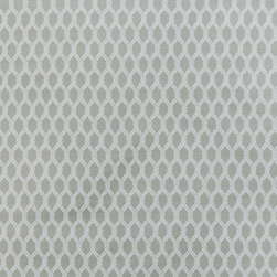 "Small Geometric Lattice 4 Upholstery Fabric, Gray - This small scale geometric / lattice features a tightly-woven, ribbed texture in gray and is suitable for upholstery, cornice / headboards, and other decorative uses. The fabric is reversible with the color layout being inverted on the ""back"" side."