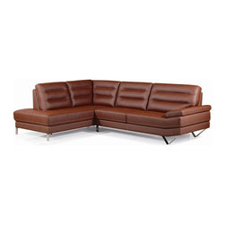 New Spec - Left Leather Sectional - Top Grain Leather. High Density Foam Material. Brick Red Color. 109.91 in. W x 78.74 in. D x 35.04 in. H (350 lbs)