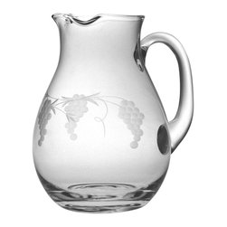 Susquehanna Glass - Sonoma Handcut Classic Round Pitcher, 90oz - Each 90 ounce pitcher features a handcut 'Sonoma' design. Artisans use a series of rotating stone wheels to apply a grapevine design which wraps around the carafe. Dishwasher safe. Decorated in the USA.