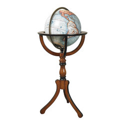 """Inviting Home - Library Globe With Floor Stand - Library globe with floor stand 19"""" x 19"""" x 37-3/4""""H No Renaissance library reception room or merchant��_s office was complete without a large globe on a stand. Mapmakers and globe publishers issued new globes every year keeping clients up to date on the latest discoveries and explorations. New trade routes new ports of call��_ even new continents! Our 12-1/2"""" globe with floor stand is the classical form used over the centuries."""